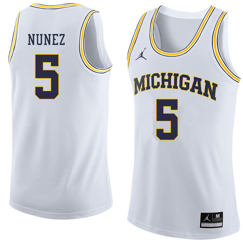 Jordan Brand Men #5 Adrien Nunez Michigan Wolverines College Basketball Jerseys Sale-White