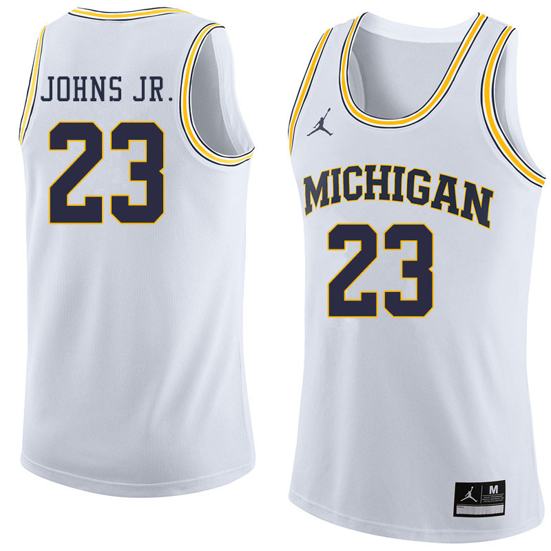 Jordan Brand Men #23 Brandon Johns Jr. Michigan Wolverines College Basketball Jerseys Sale-White