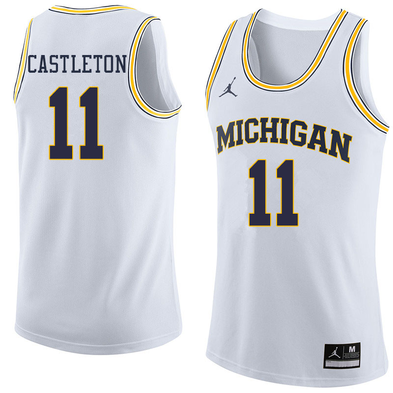 Jordan Brand Men #11 Colin Castleton Michigan Wolverines College Basketball Jerseys Sale-White