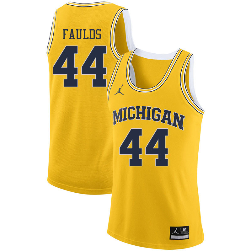 Jordan Brand Men #44 Jaron Faulds Michigan Wolverines College Basketball Jerseys Sale-Yellow