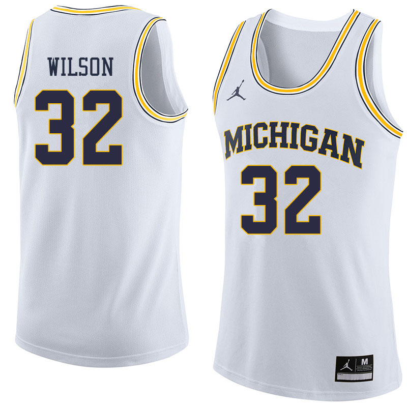 Jordan Brand Men #32 Luke Wilson Michigan Wolverines College Basketball Jerseys Sale-White