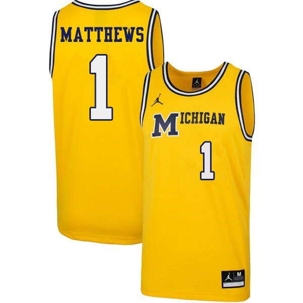 Men #1 Charles Matthews Michigan Wolverines 1989 Retro College Basketball Jerseys Sale-Yellow