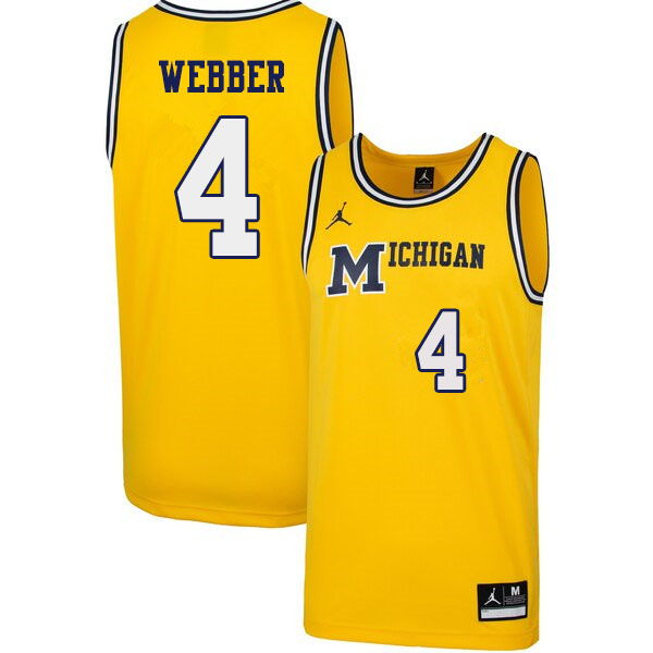 Men #4 Chris Webber Michigan Wolverines 1989 Retro College Basketball Jerseys Sale-Yellow