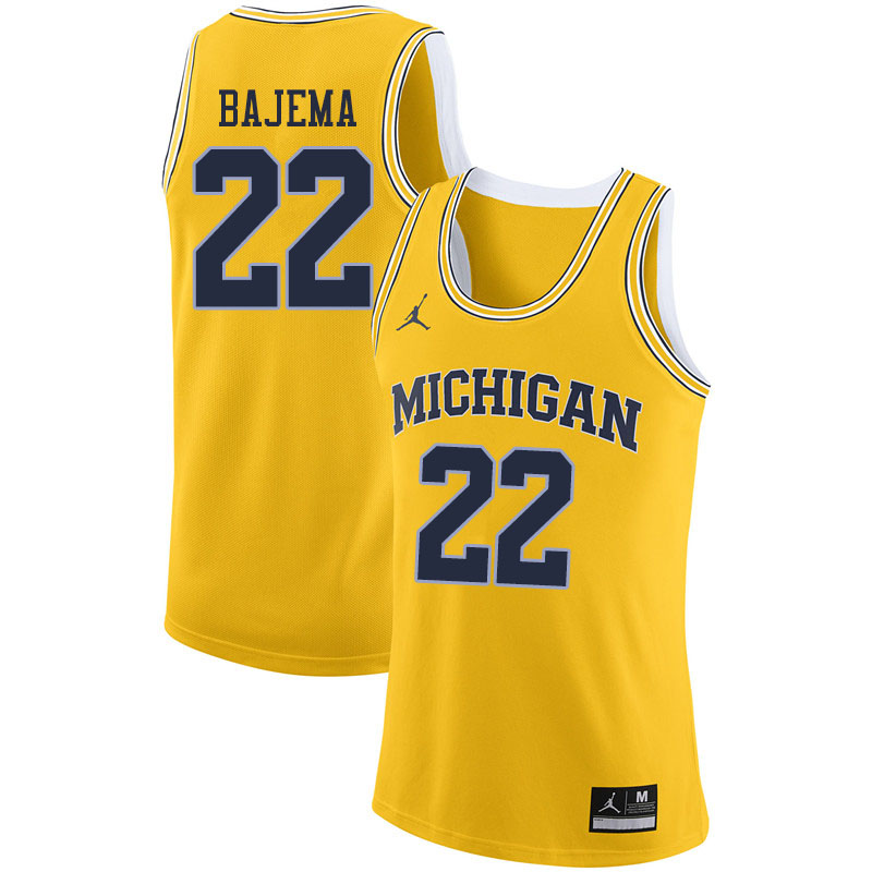 Men #22 Cole Bajema Michigan Wolverines College Basketball Jerseys Sale-Yellow