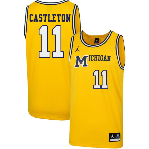 Men #11 Colin Castleton Michigan Wolverines 1989 Retro College Basketball Jerseys Sale-Yellow