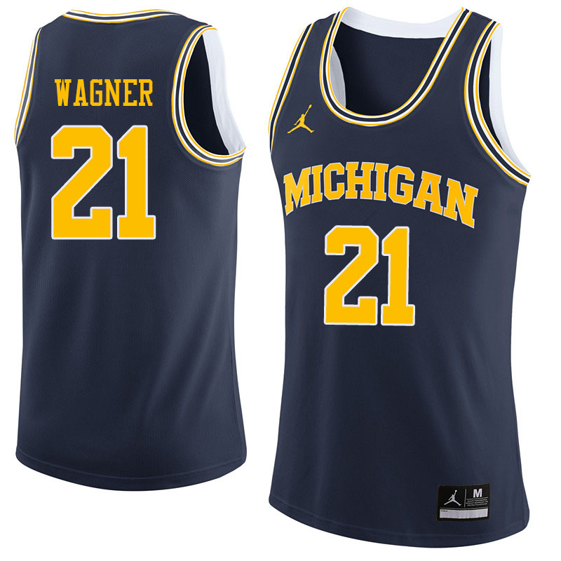 Men #21 Franz Wagner Michigan Wolverines College Basketball Jerseys Sale-Navy