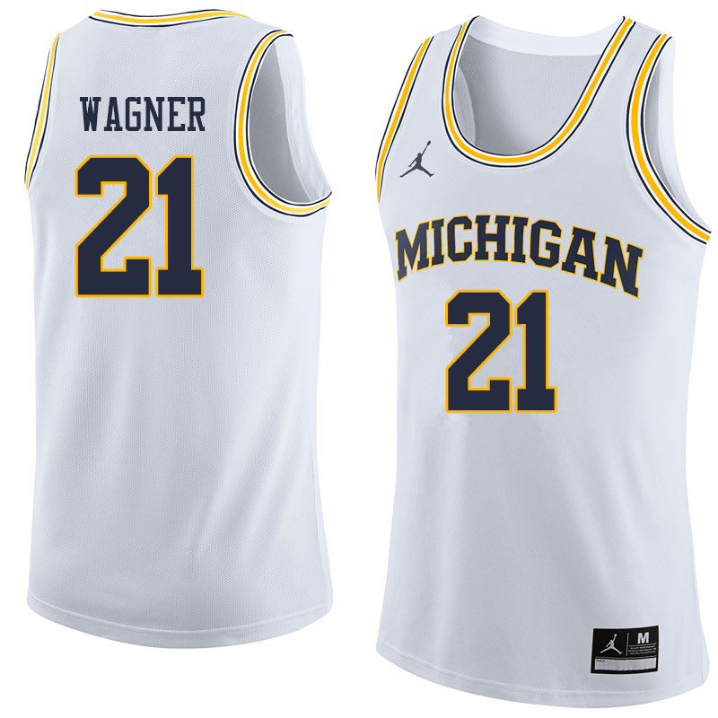 Men #21 Franz Wagner Michigan Wolverines College Basketball Jerseys Sale-White
