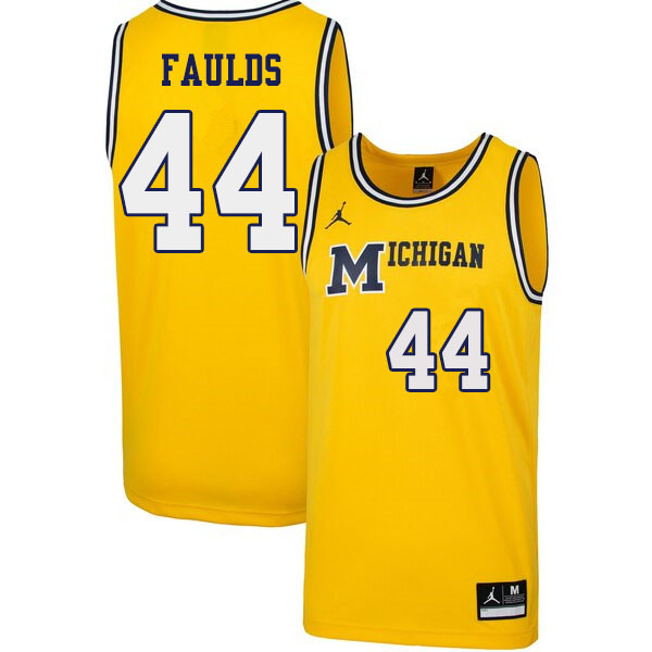 Men #44 Jaron Faulds Michigan Wolverines 1989 Retro College Basketball Jerseys Sale-Yellow