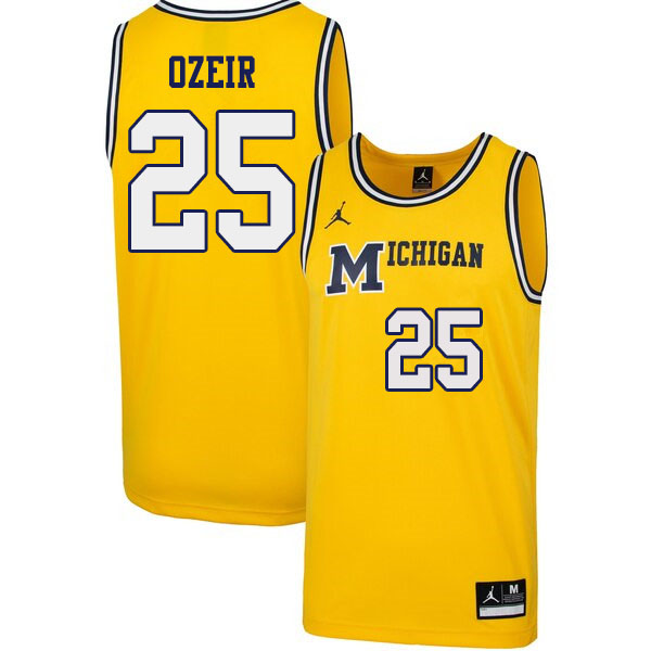 Men #25 Naji Ozeir Michigan Wolverines 1989 Retro College Basketball Jerseys Sale-Yellow