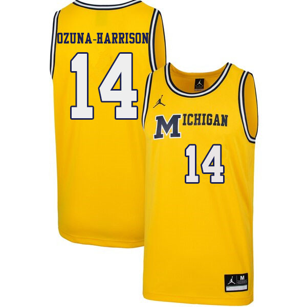 Men #14 Rico Ozuna-Harrison Michigan Wolverines 1989 Retro College Basketball Jerseys Sale-Yellow