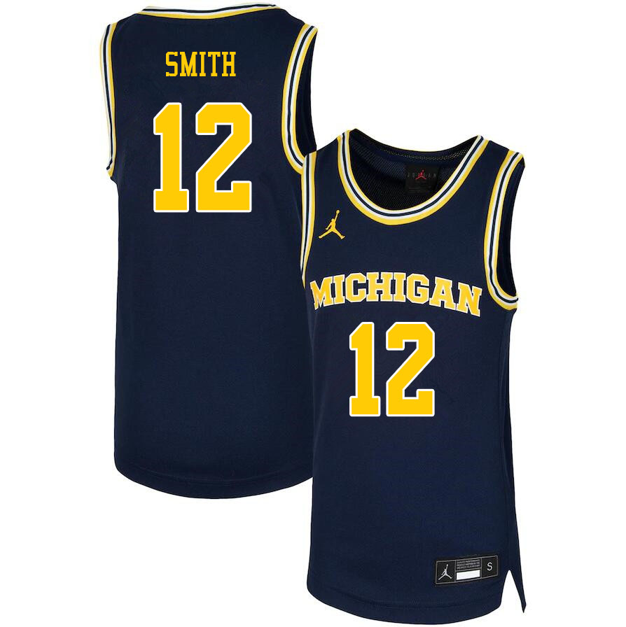 Men #12 Mike Smith Michigan Wolverines College Basketball Jerseys Sale-Navy