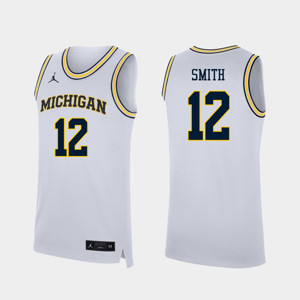 Men #12 Mike Smith Michigan Wolverines College Basketball Jerseys Sale-White