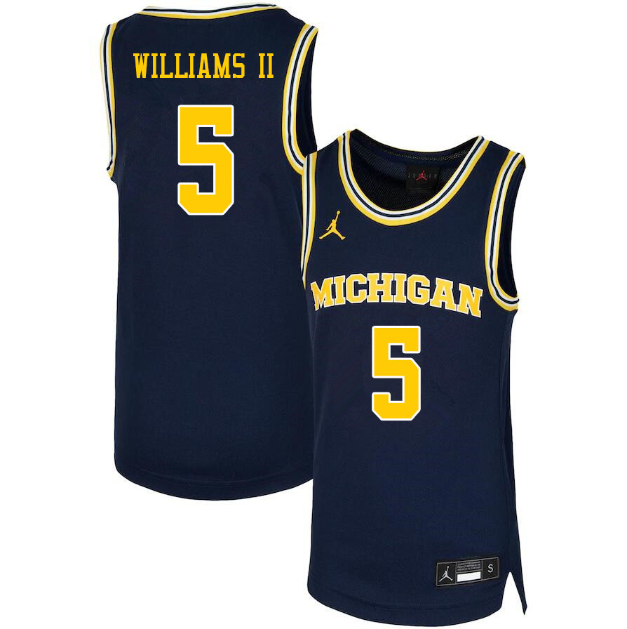 Men #5 Terrance Williams II Michigan Wolverines College Basketball Jerseys Sale-Navy