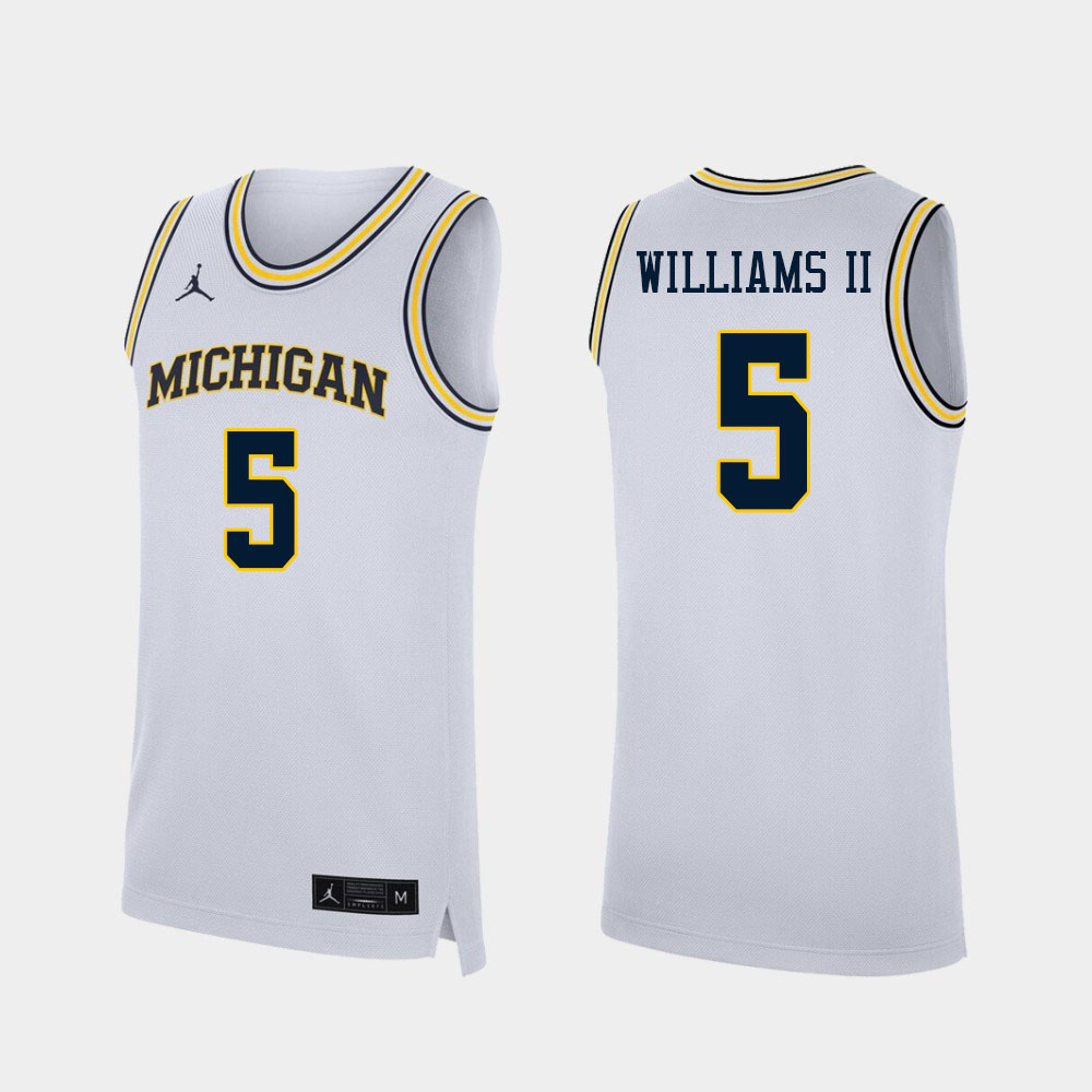 Men #5 Terrance Williams II Michigan Wolverines College Basketball Jerseys Sale-White