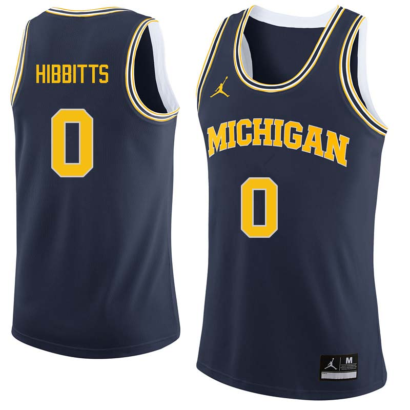 Men #0 Brent Hibbitts Michigan Wolverines College Basketball Jerseys Sale-Navy