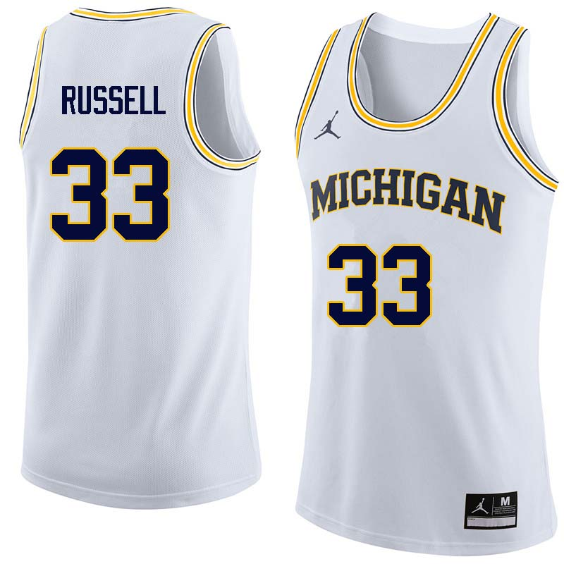 Men #33 Cazzie Russell Michigan Wolverines College Basketball Jerseys Sale-White