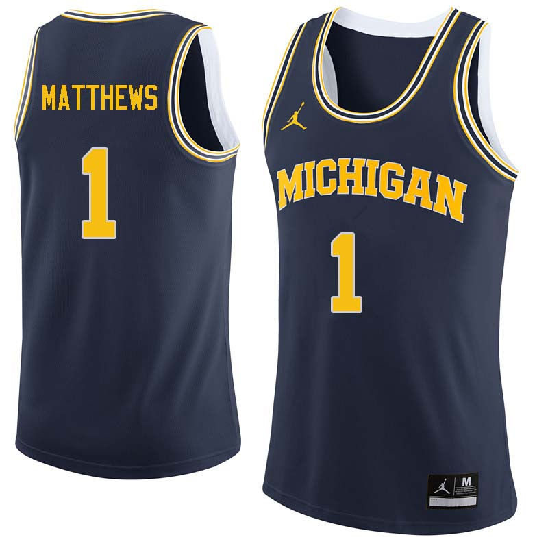 Men #1 Charles Matthews Michigan Wolverines College Basketball Jerseys Sale-Navy