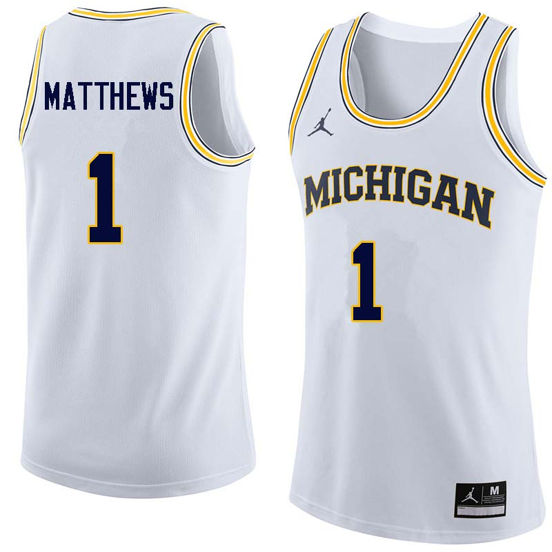 Men #1 Charles Matthews Michigan Wolverines College Basketball Jerseys Sale-White