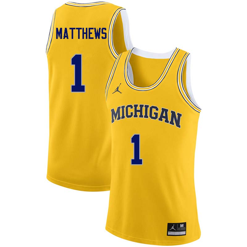 Men #1 Charles Matthews Michigan Wolverines College Basketball Jerseys Sale-Yellow