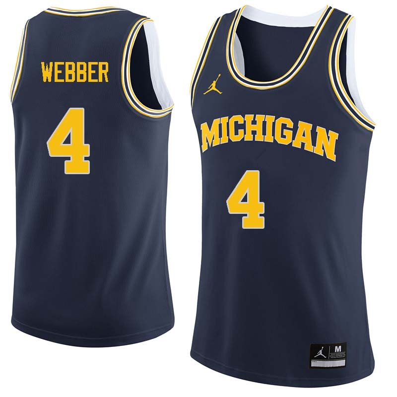 Men #4 Chris Webber Michigan Wolverines College Basketball Jerseys Sale-Navy