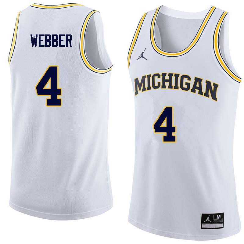 Men #4 Chris Webber Michigan Wolverines College Basketball Jerseys Sale-White