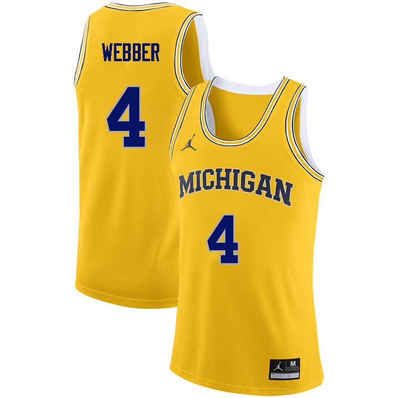 Men #4 Chris Webber Michigan Wolverines College Basketball Jerseys Sale-Yellow