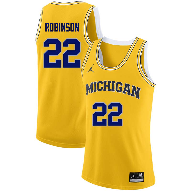 Men #22 Duncan Robinson Michigan Wolverines College Basketball Jerseys Sale-Yellow