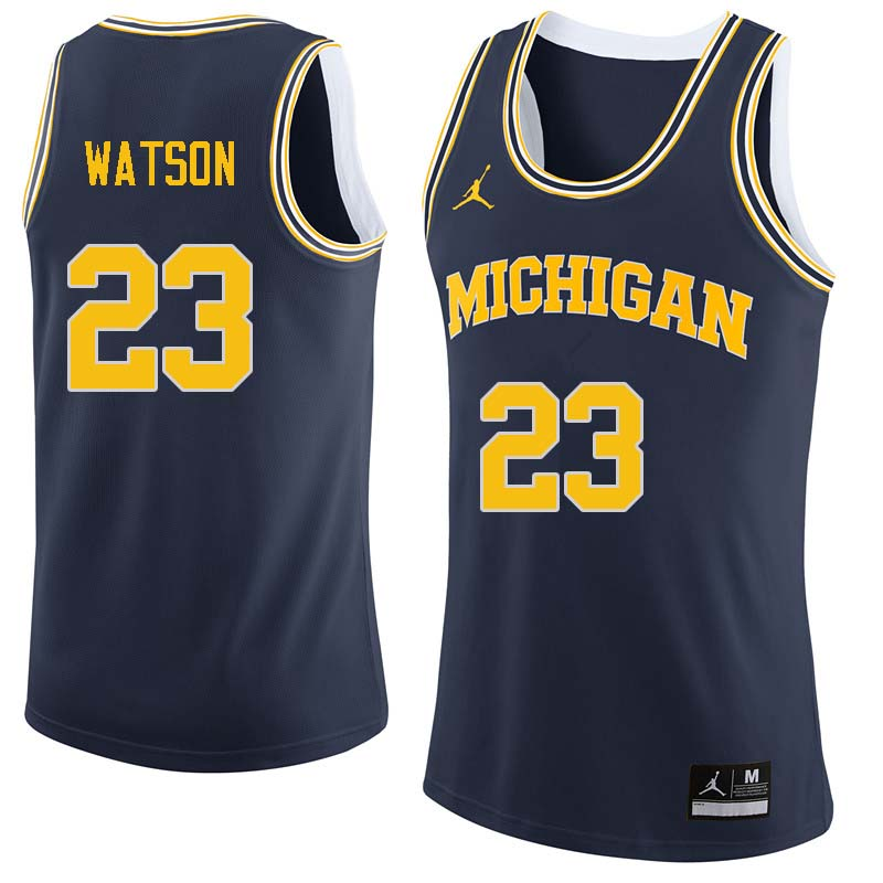 Men #23 Ibi Watson Michigan Wolverines College Basketball Jerseys Sale-Navy