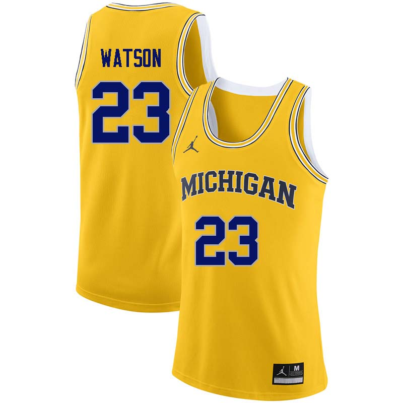 Men #23 Ibi Watson Michigan Wolverines College Basketball Jerseys Sale-Yellow