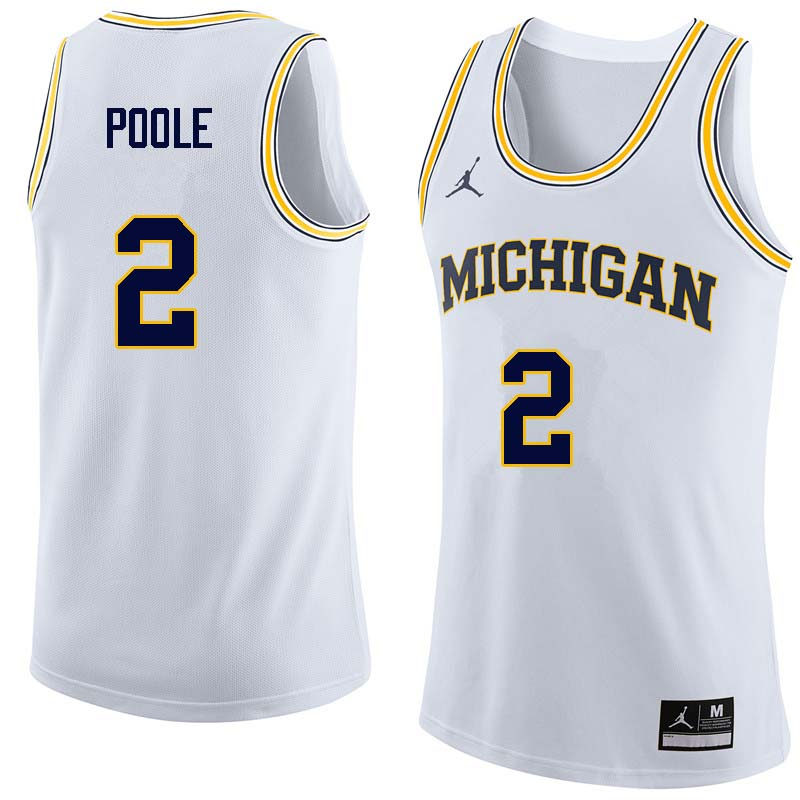 Men #2 Jordan Poole Michigan Wolverines College Basketball Jerseys Sale-White