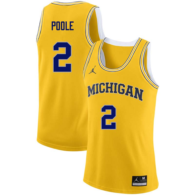 Men #2 Jordan Poole Michigan Wolverines College Basketball Jerseys Sale-Yellow