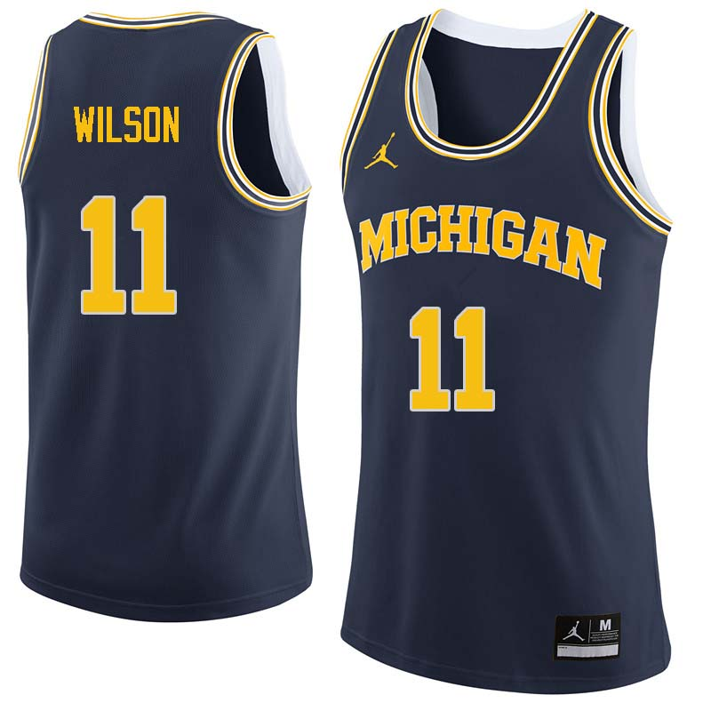 Men #11 Luke Wilson Michigan Wolverines College Basketball Jerseys Sale-Navy