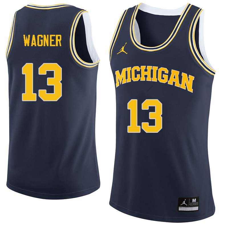 Men #13 Moritz Wagner Michigan Wolverines College Basketball Jerseys Sale-Navy