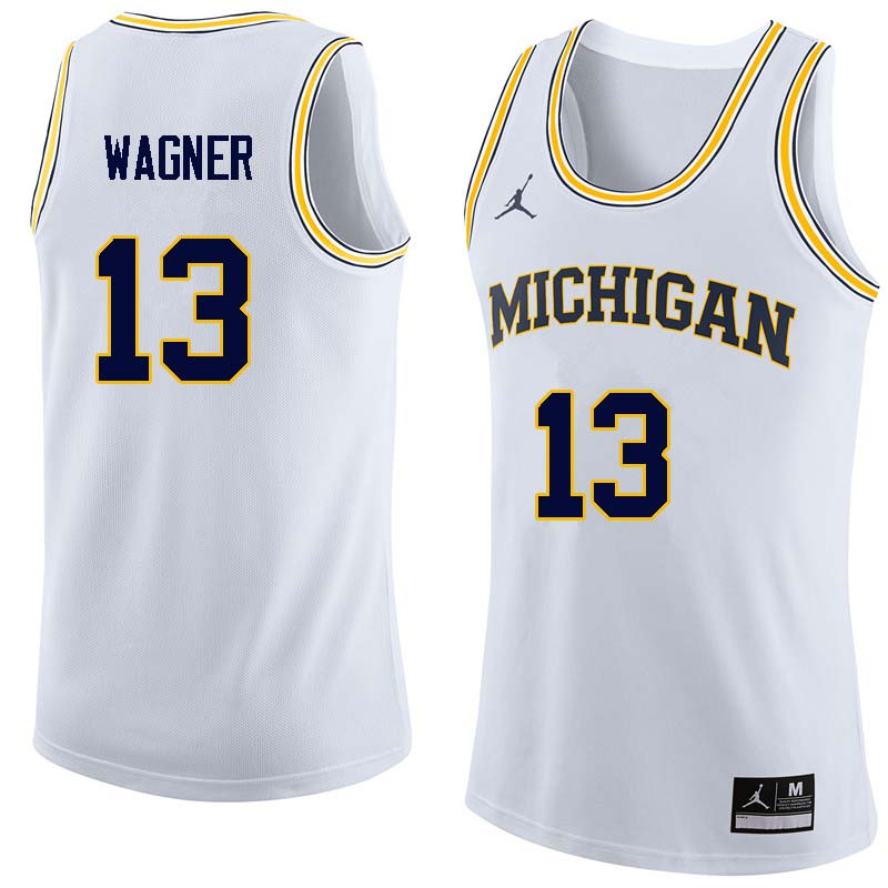 Men #13 Moritz Wagner Michigan Wolverines College Basketball Jerseys Sale-White