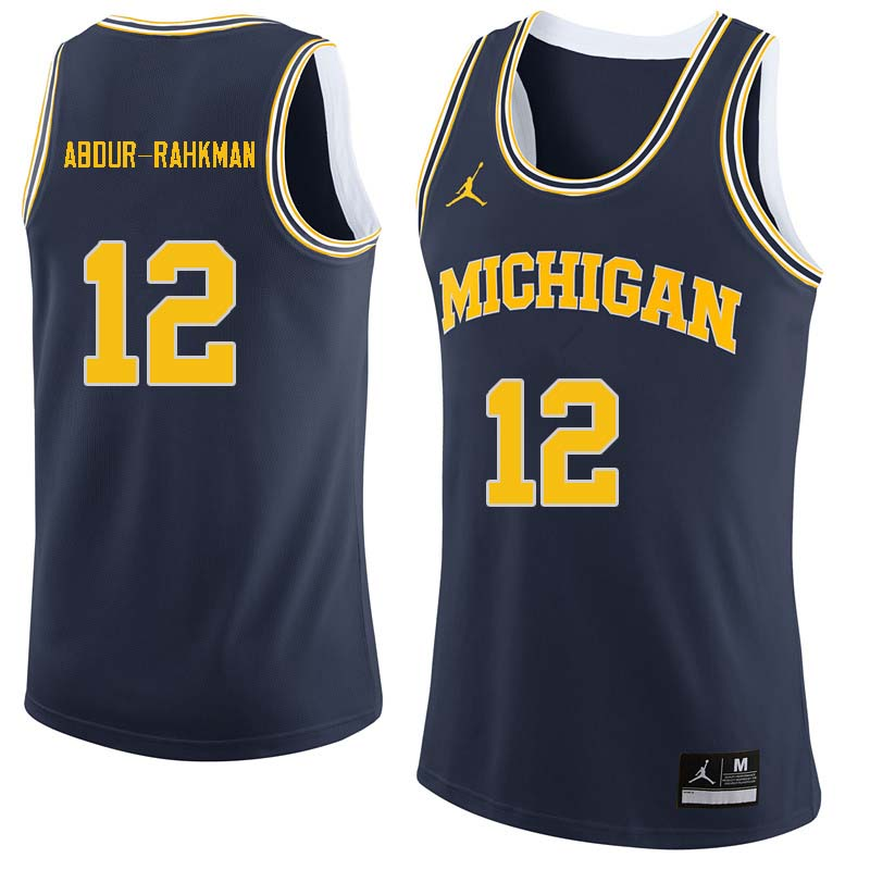 Men #12 Muhammad-Ali Abdur-Rahkman Michigan Wolverines College Basketball Jerseys Sale-Navy