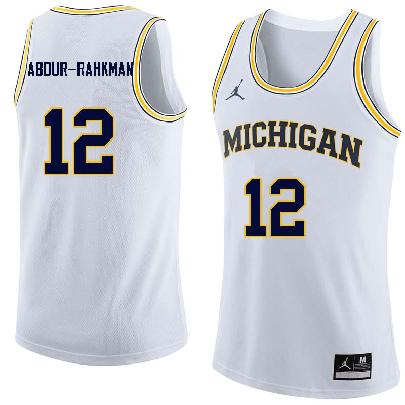Men #12 Muhammad-Ali Abdur-Rahkman Michigan Wolverines College Basketball Jerseys Sale-White