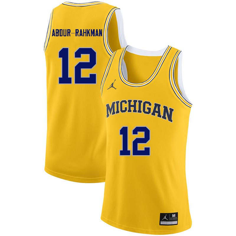 Men #12 Muhammad-Ali Abdur-Rahkman Michigan Wolverines College Basketball Jerseys Sale-Yellow