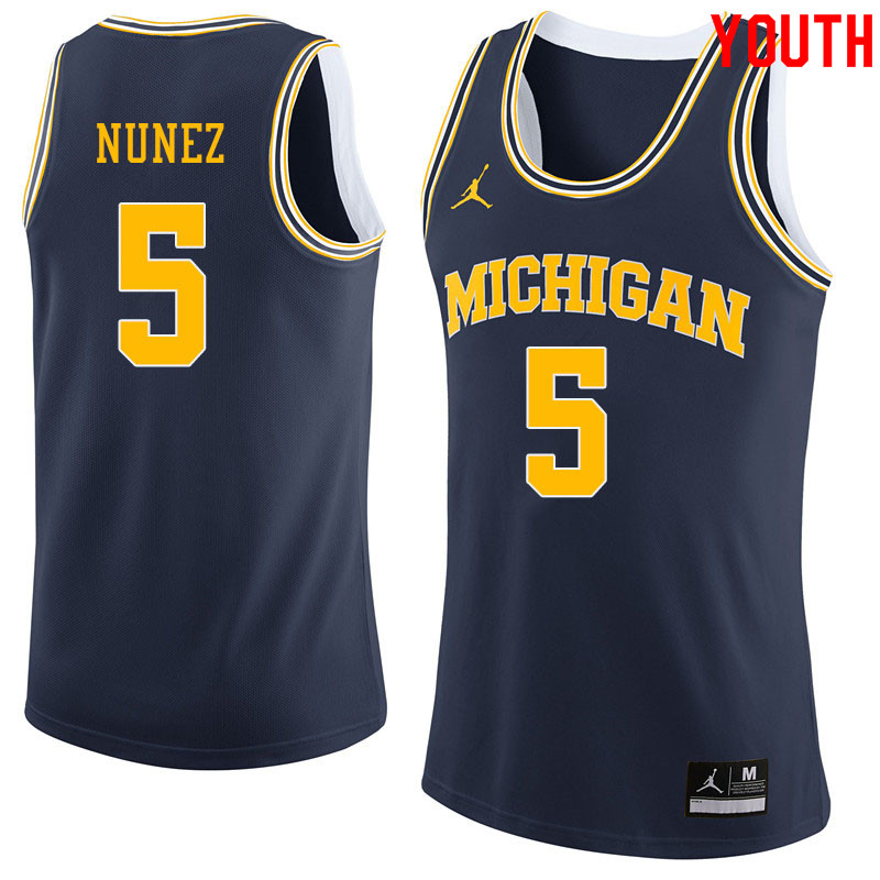 Jordan Brand Youth #5 Adrien Nunez Michigan Wolverines College Basketball Jerseys Sale-Navy