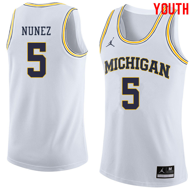 Jordan Brand Youth #5 Adrien Nunez Michigan Wolverines College Basketball Jerseys Sale-White