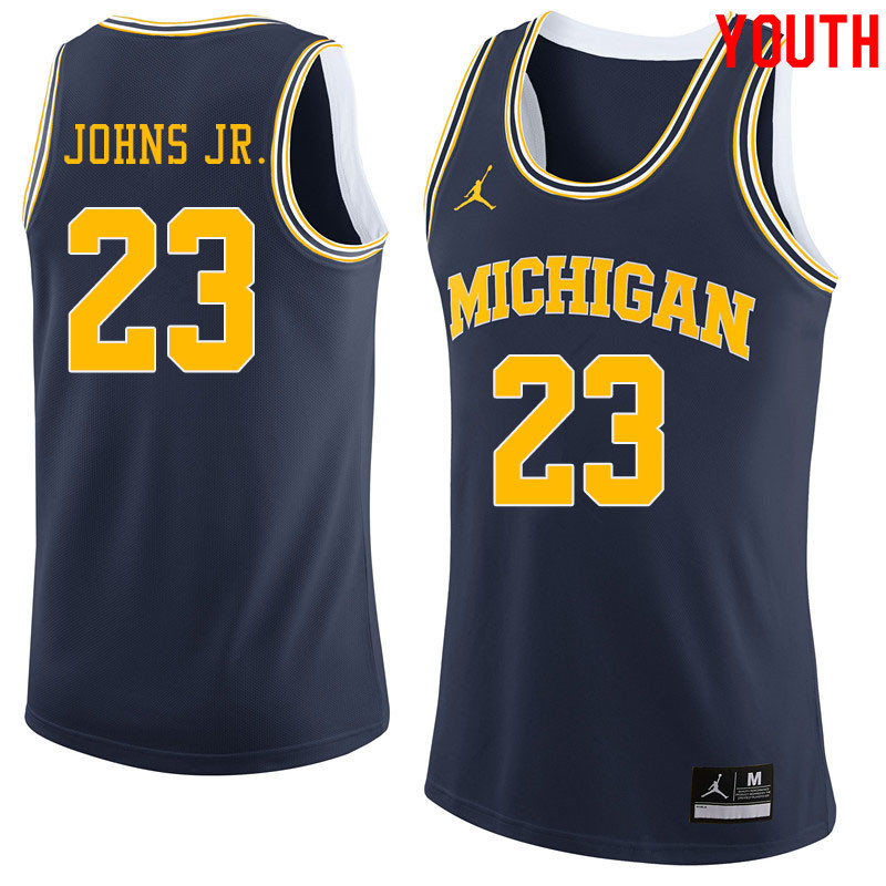 Jordan Brand Youth #23 Brandon Johns Jr. Michigan Wolverines College Basketball Jerseys Sale-Navy