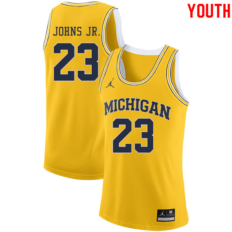 Jordan Brand Youth #23 Brandon Johns Jr. Michigan Wolverines College Basketball Jerseys Sale-Yellow