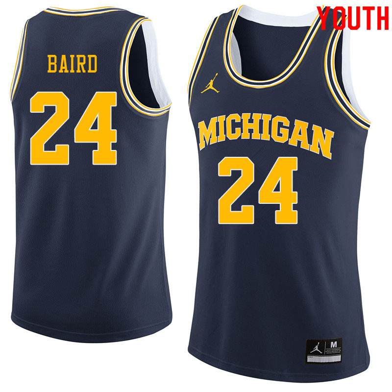 Jordan Brand Youth #24 C.J. Baird Michigan Wolverines College Basketball Jerseys Sale-Navy