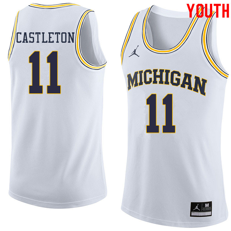 Jordan Brand Youth #11 Colin Castleton Michigan Wolverines College Basketball Jerseys Sale-White