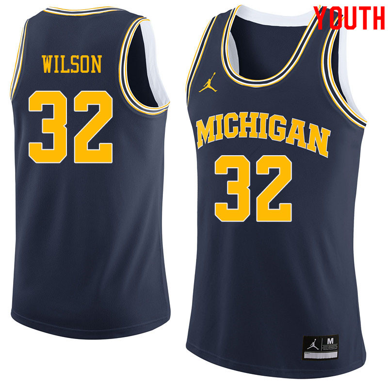 Jordan Brand Youth #32 Luke Wilson Michigan Wolverines College Basketball Jerseys Sale-Navy