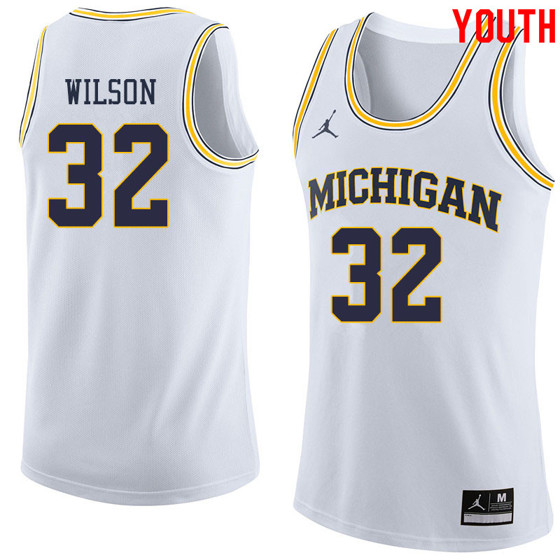 Jordan Brand Youth #32 Luke Wilson Michigan Wolverines College Basketball Jerseys Sale-White