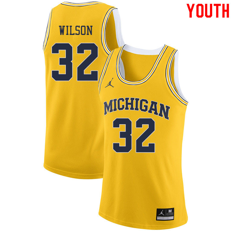 Jordan Brand Youth #32 Luke Wilson Michigan Wolverines College Basketball Jerseys Sale-Yellow