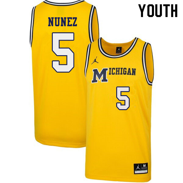 Youth #5 Adrien Nunez Michigan Wolverines 1989 Retro College Basketball Jerseys Sale-Yellow
