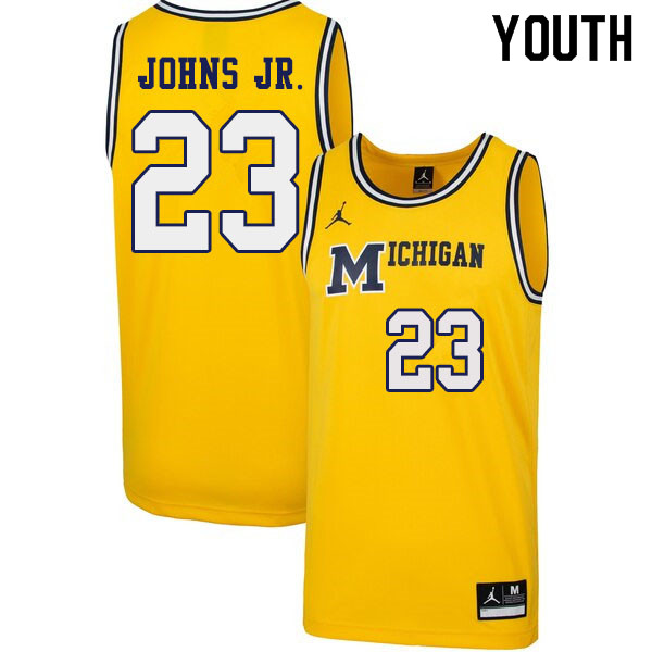 Youth #23 Brandon Johns Jr. Michigan Wolverines 1989 Retro College Basketball Jerseys Sale-Yellow