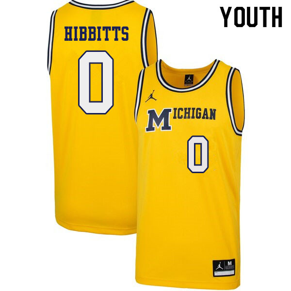 Youth #0 Brent Hibbitts Michigan Wolverines 1989 Retro College Basketball Jerseys Sale-Yellow