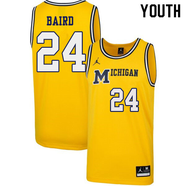 Youth #24 C.J. Baird Michigan Wolverines 1989 Retro College Basketball Jerseys Sale-Yellow